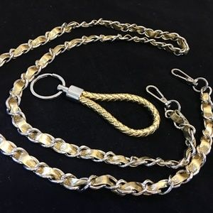 "Woven Gold 46"" Replacement Chain Strap & Key Ring"